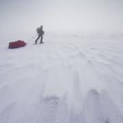 pulka dans la brume, plateau d'Ambel, Vercors
