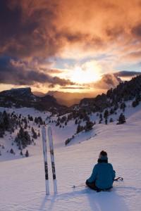 ski de rando nordique au coucher du soleil 3